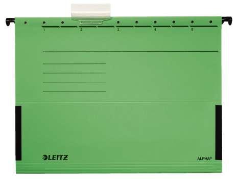 Desky závěsné Leitz Alpha s bočnicemi zelené, 25 ks