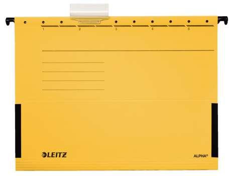 Desky závěsné Leitz Alpha s bočnicemi žluté, 25 ks