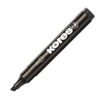 Permanentní popisovač Kores - černý, zkosený hrot