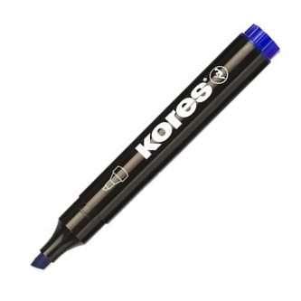 Permanentní popisovač Kores - modrý, zkosený hrot