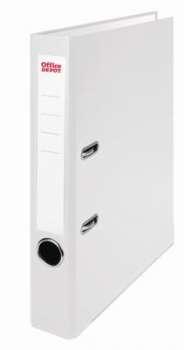 Pákový pořadač Office Depot - A4, s kapsou, kartonový, hřbet 5 cm, bílá
