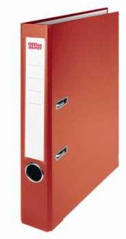 Pákový pořadač Office Depot - A4, s kapsou, kartonový, hřbet 5 cm, červený