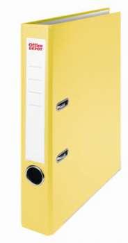 Pákový pořadač Office Depot - A4, s kapsou, kartonový, hřbet 5 cm, žlutá