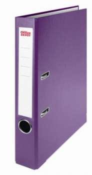 Pákový pořadač Office Depot - A4, s kapsou, kartonový, hřbet 5 cm, fialová