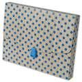 Box na spisy - A5, hnědý s modrým puntíkem, 1 ks