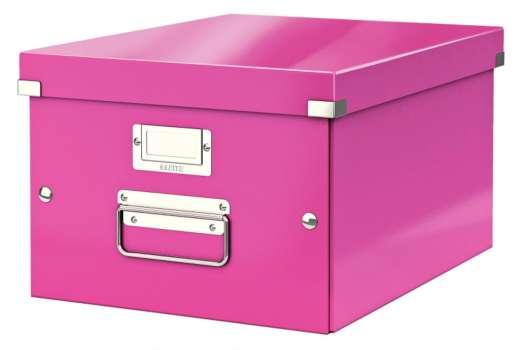 Krabice LEITZ WOW Click-N-Store - A4, univerzální, růžová