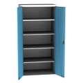 Kovová dílenská skříň - 95 x 195 x 60 cm, světle šedá/modrá