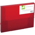 Box na spisy Q-Connect s gumičkou - A4, 2,5 cm, transparentně červený