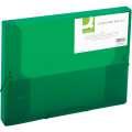 Box na spisy Q-Connect s gumičkou - A4, transparentně zelený, 2,5 cm