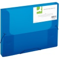 Box na spisy Q-Connect s gumičkou - A4, transparentně modrý, 2,5 cm
