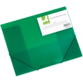 Box na spisy Q-Connect s gumičkou - A4, transparentně zelený, 3 cm