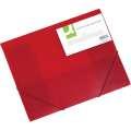 Box na spisy Q-Connect s gumičkou - A4, transparentně červený, 3 cm