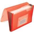 Aktovka s přihrádkami Q-Connect - A4, transparentní červená, 13 přihrádek