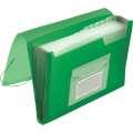 Aktovka s přihrádkami Q-Connect - A4, transparentní zelená, 13 přihrádek