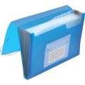 Aktovka s přihrádkami Q-Connect - A4, transparentní modrá, 13 přihrádek