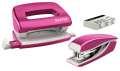Sada mini sešívačky a děrovačky Leitz WOW - metalicky růžová