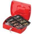 Kovová kasa Q-Connect s mincovníkem - 25,5 x 8,5 x 20 cm, červená