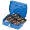 Kovová kasa Q-Connect s mincovníkem - 25,5 x 8,5 x 20 cm, modrá