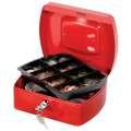 Kovová kasa Q-Connect s mincovníkem - 20,5 x 8,5 x 16 cm, červená
