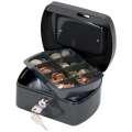 Kovová kasa Q-Connect s mincovníkem - 15 x 7,5 x 12 cm, černá