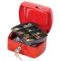 Kovová kasa Q-Connect s mincovníkem - 15 x 7,5 x 12 cm, červená