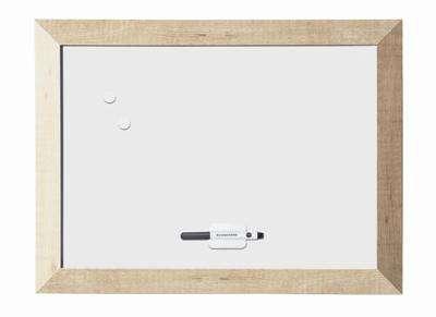 Magnetická tabule Kamashi, bílá, rám přírodní dřevo