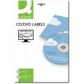 Etikety na CD/DVD Q-Connect - bílé, průměr 117 mm, 2 x 25 ks