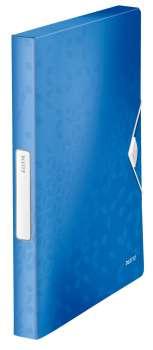 Box na dokumenty s gumičkou LEITZ WOW - A4, metalicky modrý