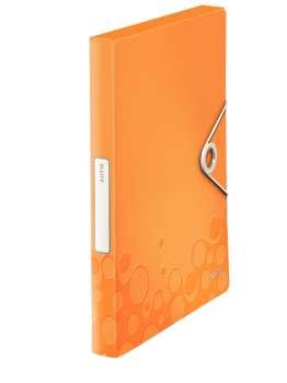 Box na dokumenty s gumičkou LEITZ WOW - A4, metalicky oranžová