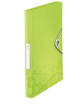 Box na dokumenty s gumičkou LEITZ WOW - A4, metalicky zelený