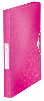 Box na dokumenty s gumičkou LEITZ WOW - A4, metalicky růžová