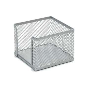 Drátěná krabička na poznámkový bloček - stříbrná