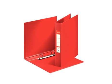 Dvoukroužkový plastový  pořadač Esselte A5, 3,5 cm, červená