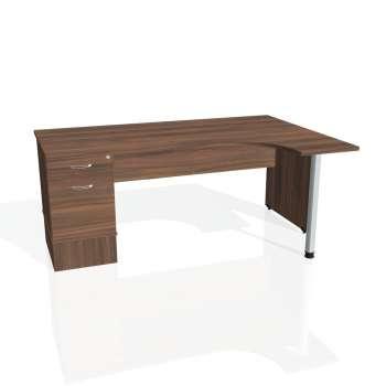 Psací stůl Hobis GATE GEK 1800 levý 22, ořech/ořech