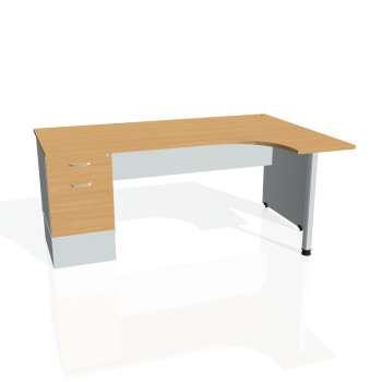Psací stůl Hobis GATE GEK 1800 levý 22, buk/šedá