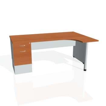 Psací stůl Hobis GATE GEK 1800 levý 22, třešeň/šedá