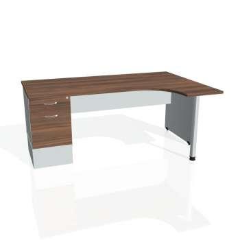 Psací stůl Hobis GATE GEK 1800 levý 22, ořech/šedá