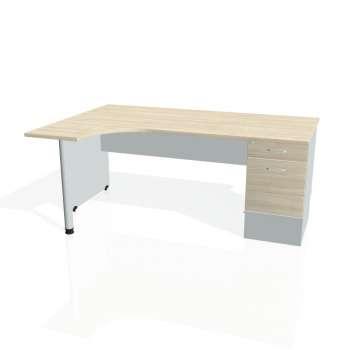 Psací stůl Hobis GATE GEK 1800 pravý 22, akát/šedá