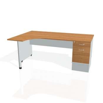 Psací stůl Hobis GATE GEK 1800 pravý 22, olše/šedá