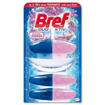 Závěsný WC blok Bref Duo Aktiv - lotos a levandule, 3 x 60 ml