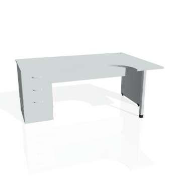 Psací stůl Hobis GATE GEK 1800 levý 23, šedá/šedá