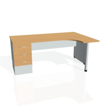 Psací stůl Hobis GATE GEK 1800 levý 23, buk/šedá