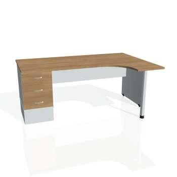 Psací stůl Hobis GATE GEK 1800 levý 23, višeň/šedá