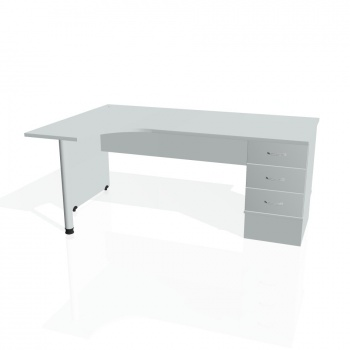 Psací stůl Hobis GATE GEK 1800 pravý 23, šedá/šedá