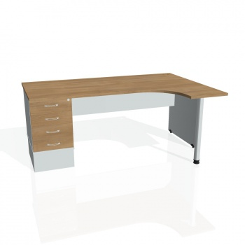 Psací stůl Hobis GATE GEK 1800 levý 24, višeň/šedá