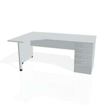 Psací stůl Hobis GATE GEK 1800 pravý 24, šedá/šedá