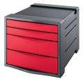 Zásuvkový box Esselte Europost VIVIDA - 4 zásuvky, červený/šedý