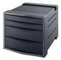 Zásuvkový box Esselte Europost VIVIDA - 4 zásuvky, černý/šedý