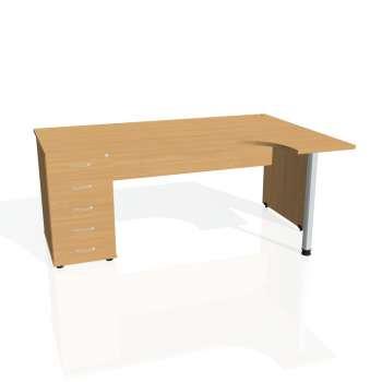 Psací stůl Hobis GATE GEK 1800 levý 25, buk/buk