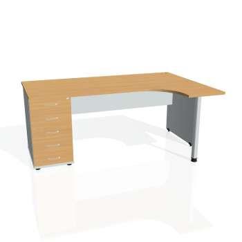 Psací stůl Hobis GATE GEK 1800 levý 25, buk/šedá